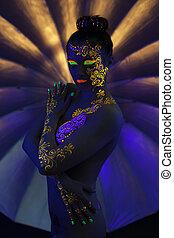 érzéki, meztelen, leány, noha, fluoreszkáló, motívum, képben látható, test