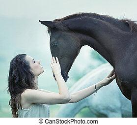 érzéki, nő, cirógató, egy, ló