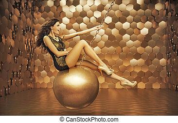 érzéki, nő, játék, képben látható, a, nagy, labda