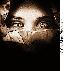 érzéki, szemek, közül, titokzatos, nő