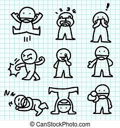 érzelem, ábra, paper., karikatúra