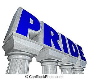érzelem, megkövez, büszkeség, szó, büszke, magabiztos, érzés, oszlop