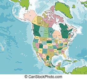 észak-amerika, térkép, noha, usa, kanada, és, mexikó