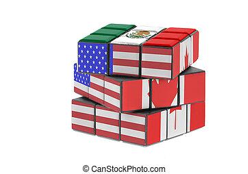 észak-amerikai, szabad kereskedelem, agreement., gazdasági, rejtvény, concept.