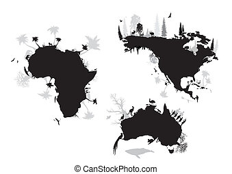 észak, ausztrália, amerika, afrika