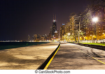 észak, chicago, tengerpart, éjszaka