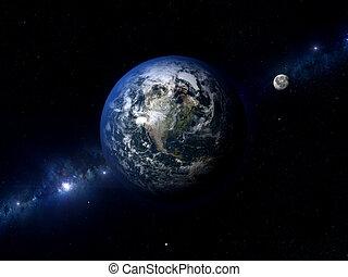 észak, földdel feltölt, amerika, hold