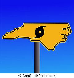 észak, figyelmeztetés, hurrikán, carolina, aláír