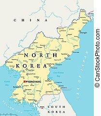 Eszak Korea Politikai Terkep Terkep Korea Eszak Illustration