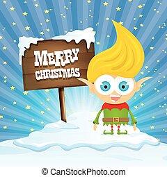 észak, manó, karikatúra, lengyel, vektor, vidám christmas