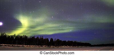 északi fény, (aurora, borealis), felett, snowscape.