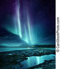 északi fény, hajnal, felett, északi, norvégia