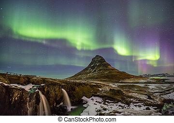 északi fény, hajnal, izland