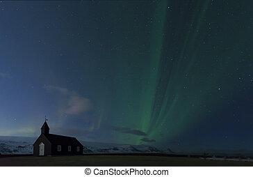 északi fény, izland, félhomály, és, éjszaka