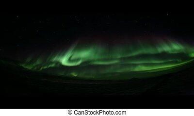 északi fény, képben látható, a, északi-sark, ég
