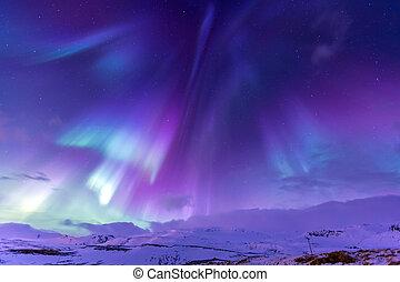 északi láng, aurora borealis, izland