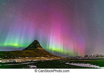 északi láng, hajnal, izland