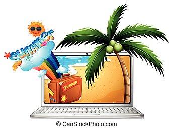 été, écran, informatique, plage