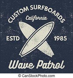 été, éléments, tee, conception, logo, design., toile, style, symbols., vendange, surfeur, emblèmes, retro, écusson, surfer tee-shirt, graphiques, waves., print., embarquement, cachet, surfer, planche surf, plage, vecteur, ou