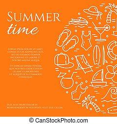 été, éléments, vacances, space., mince, orange, ligne, copie, bannière
