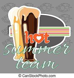 été, équipe, chaud, hamburger, bière, temps