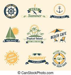 été, étiquettes, retro, mer