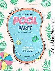 été, événement, poster., coloré, illustration, festival, placard., vecteur, fête, piscine
