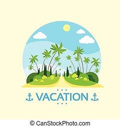 été, île, arbre, océan vacances, exotique, paume, vacances
