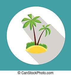 été, île, arbre, océan vacances, exotique, paume, vacances, icône