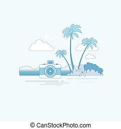 été, île, arbre, océan vacances, exotique, plage paume, bannière