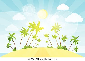 été, île, arbre, océan vacances, exotique, vecteur, paume