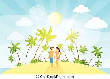 été, île, couple, arbre, océan vacances, exotique, paume, vacances