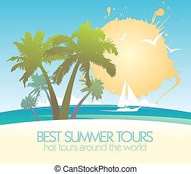 été, île, exotique, yacht., conception, tours