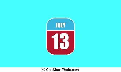 été, 13, 13th., sien, année, mois, animation., assemblé, 2d, parts., feuille, composant, calendrier, juillet, jour, concept