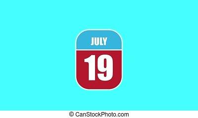 été, 19th., sien, 19, année, mois, animation., assemblé, 2d, parts., feuille, composant, calendrier, juillet, jour, concept