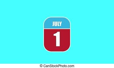 été, 1st., sien, année, mois, animation., assemblé, 2d, parts., feuille, composant, calendrier, juillet, 1, jour, concept