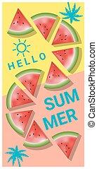 été, 3, pastèque, bonjour, fond