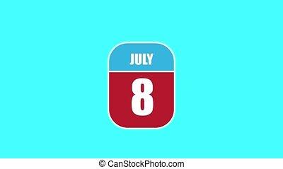 été, 8th., sien, année, mois, animation., assemblé, 2d, 8, parts., feuille, composant, calendrier, juillet, jour, concept