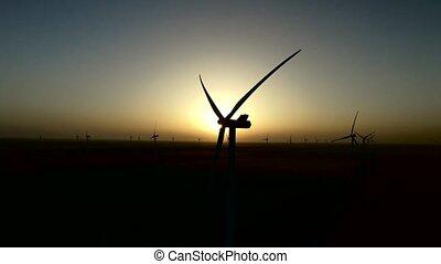 été, aérien, ferme, sur, turbines, calme, silhouette., coucher soleil, vent, enquête, night.