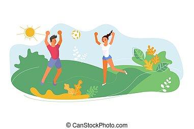 été, activité, extérieur, volley-ball