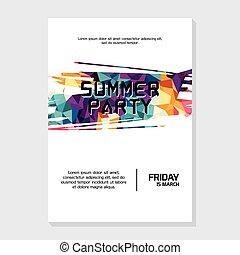 été, affiche, aviateur, gabarit, nuit, fête, plage