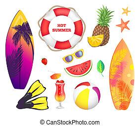 été, affiche, bannière, échantillon, vecteur, fête, plage