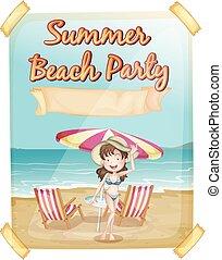 été, affiche, bikini, fille partie, plage