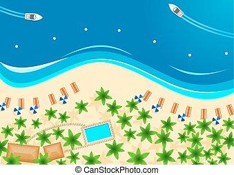 été, affiche, vacances, exotique, conception, plage