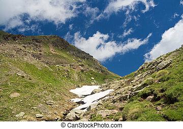 été, alpin, promenade