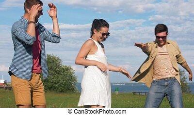 été, amis, parc, heureux, danse