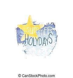été, aquarelle, étiquette, stylisé, message, holydays