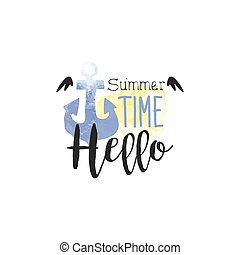 été, aquarelle, étiquette, stylisé, temps, message, bonjour