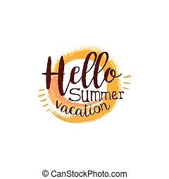été, aquarelle, soleil, étiquette, stylisé, message, bonjour