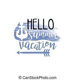 été, aquarelle, vacances, étiquette, stylisé, message, bonjour